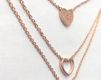 Triple Heart Necklace. Sterlin Silver. Pink Gold silver.