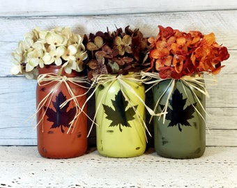 Fall Farmhouse decor, Fall table decor, Pumpkin decor, Pumpkin table decor, Leaf decor, Fall decor, Autumn jars, Autumn table decorations