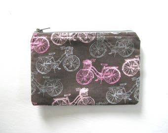 Larger EMF Shielding Homeopathy Storage Zippered Bag (Pink Grey Bicycle)
