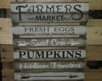 Farmers Market Sign Kitchen Decor Wall Decor Farmhouse Decor Fixer Upper  Style Country Decor Farmhouse Signs