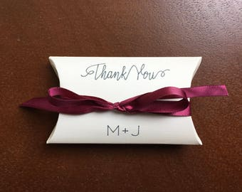 IVORY FAVOR BOX  personalized with Bride & Groom initials, Burgundy Satin ribbon