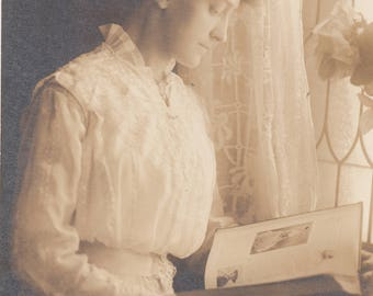 Vintage Photo Beautiful Woman Reading by Window Antique Fashion Lace Black & White Found Paper Art Ephemera Interior Design Vernacular Mood