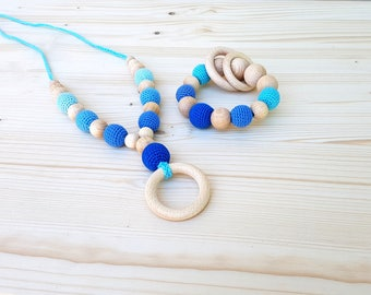 SET Rattle and Teething necklace Teething toy Crochet Teething beads Nursing necklace  Wooden Baby rattle Organic Natural Eco friendly toy