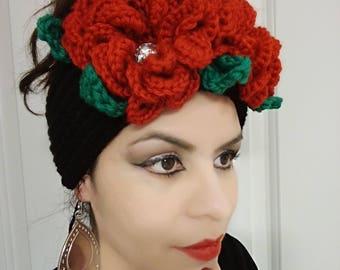 frida kahlo, frida kahlo headband, mexican headband, headband frida kahlo, flowered headband, black headband, red headband, headband , gift.