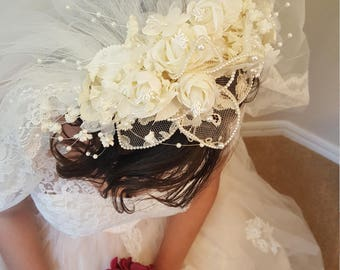 Beautiful White Vintage Headband Veil with roses and beads/42 inches long