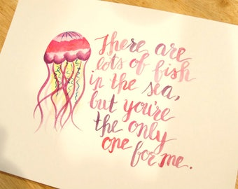 Jellyfish - Lots of Fish In the Sea - Pink - 9x12