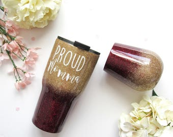 Maroon and Gold Ombre Glitter Tumbler - Glitter Tumbler - Gold Tumbler - Ombre Tumbler - Glitter Yeti - Burgundy Tumbler - Yeti - Rtic