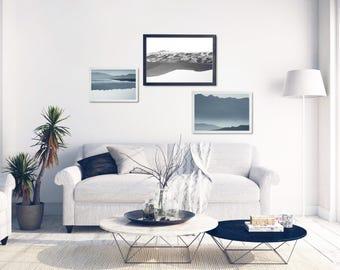 Blue Mountains Prints, Nature Inspired Decor, 3 Nature Art Prints, Mountains Photo Decor Set, Landscape Printable Set, Minimal Wall Art Set