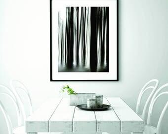 Forest print decor, white interior wall decor, bright wall decor ideas, modern interior wall decor