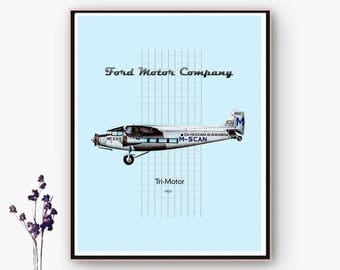 Poster posters unloadable Ford Tri-Motor aircraft. JPG and PNG files/Navidad.Online poster.