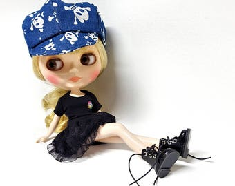 PEAKED BASEBALL CAP Denim Skull for Blythe, Jeans Tennis Hat for Fashion Doll