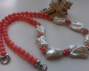Large Freshwater Baroque Keishi Pearls  and Coral Necklace