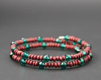 Bracelet, bracelet, wrap bracelet, memory wire bracelet, memory wire bracelet, wood jewelry, vegan jewelry, wooden bracelet, pearl bracelet, unique
