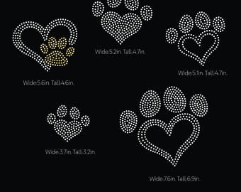 Heart paw, heart shape paws  rhinestone templates digital download, svg, eps, png, dxf