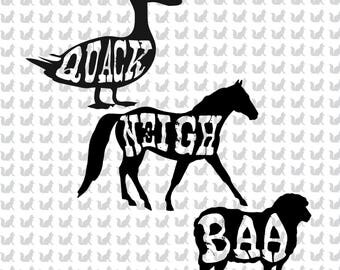 Quack Neigh Baa  (Duck, Horse, Sheep) Farm Animal Bundle - Digital file download for print or cut