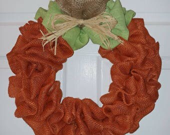 Ready to Ship! Pumpkin Burlap Wreath for Fall, Halloween, Thanksgiving-Rustic Orange, Green, and Natural Burlap with Raffia Bow