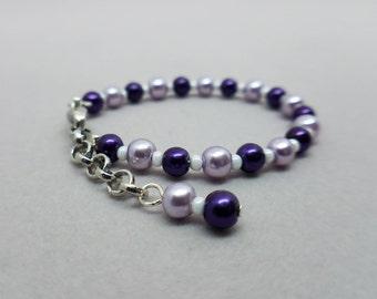 Light & Dark Purple Pearl Bracelet