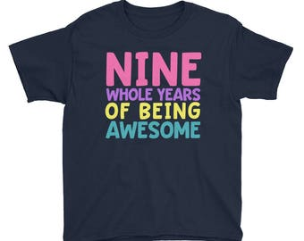 9th Birthday Party Shirt - Nine 9 Year Old Shirt for Girls - Birthday Shirt for Girls 9 - Birthday Girl Shirt 9 Ninth Birthday Gift Shirt