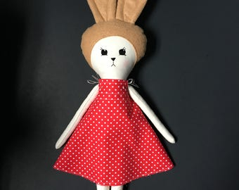 Retro Bunny Girl Cloth Doll