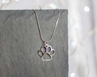 Sterling Silver Paw Necklace | Paw Necklace | Silver Paw | Dog Necklace | Animal Lover Necklace | Paw Print Necklace |