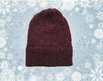 Women's Purple Sparkle Knit Skull Cap