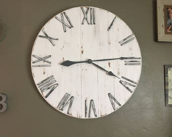 "30"" White Farmhouse Clock, White Home Decor, Farmhouse Wall Clock, Oversized Wall Clock, Shiplap Decor, Farmhouse Decor, Rustic Decor"