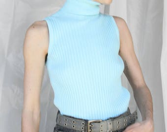 Vintage 90s Express Ice Blue Ribbed Sweater Tank Size M