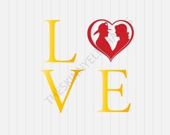 Love Fighters SVG- Fire Dept logo -Firemen - svg, dxf, eps, png, Pdf - Download - Cut File, Clipart - Cricut Explorer - Silhouette Cameo