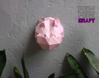 Hippo trophy. Low poly paper sculpture printable DIY pdf papercraft template