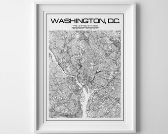 Washington Map Print Washington dc poster Washington dc washington city map map of washington dc district of columbia personalized map art