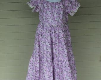 Lilac Colored Butterfly and Floral Peasant Dress