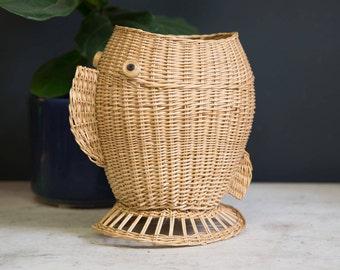 Vintage Mid Century Modern Wicker Fish Basket