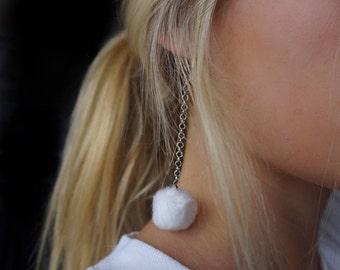 Pompon Earrings -  Black pompom earrings - white pompom earrings - Nickel Free Earrings