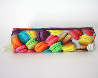Macaron Pencil Case, Makeup Brush Bag, Rectangular Pouch, Desserts bag, French Macaron