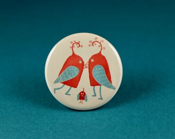 Love Birds Button Pin or Magnet, Valentine's Day Magnet