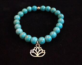 Turquoise Howlite Bead Bracelet Lotus Flower Boho Classy Strength Wisdom Energy Positivity Beauty Life Happiness Health Healthy Healing