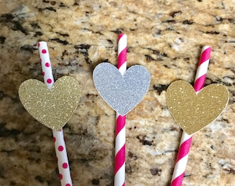 Hot Pink Paper Straws, Party Straws, Bachlorette Party Decor, Birthday Party Decor