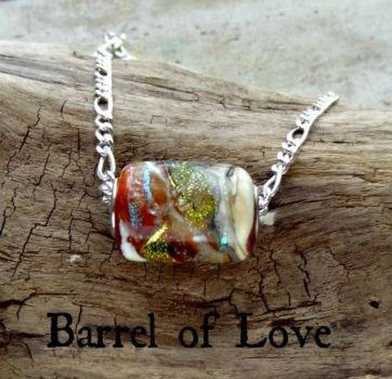 "Memorial Blown Glass Barrel Necklace on Sterling Silver 18"" chain"