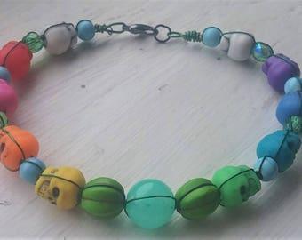 Rainbow Skull Green Pumpkin Bracelet