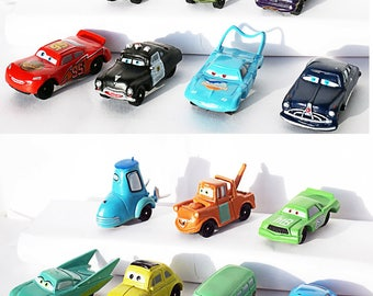 7psc Random disney cars Mini Figures toys party favor birthday cupcake toppers cartoon series holiday miniature surprise baby Figurine