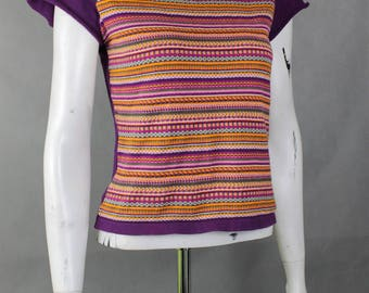 Vintage Clothing - Loose Weight - Fit Blouse - Vintage Sweater - 70s Jumper - Retro Blouses - Stripes Pattern - Short Sleeve