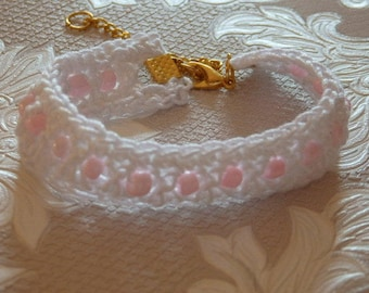 Crochet White and Pink Bracelet for girls