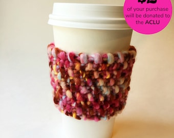 Knitted multicolor pink coffee sleeve