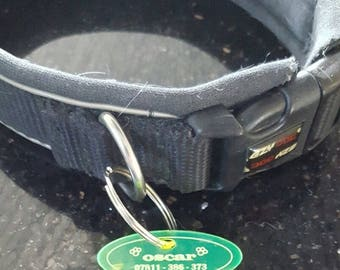 Acrylic green dog personalised identity tag