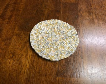 New Glass Beaded Coasters - White / Gold / Silver - Set of 4