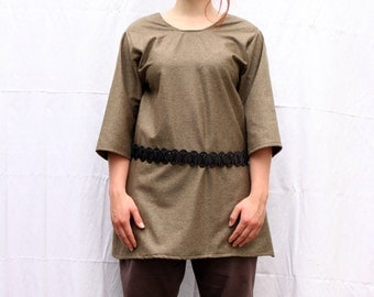 Green wool LARP medieval costume tunic - Size S-M