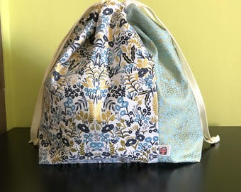 """Handmade drawstring bag / pouch for knitting crochet project 10.5"""" x 8.5"""" x 3.5"""" *menagerie tapestry green*"""