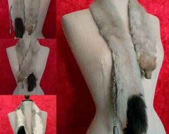 Vintage Real Sable Fur Scarf. 1930s Sable Fur Tippet. Vintage Sable Scarf, Vintage Sable Fur Tippet, Vintage Real Sable Fur