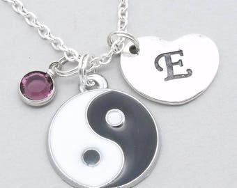 Yin Yang necklace with heart initial | yin yang pendant | personalised yin yang jewellery | yin yang gift