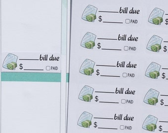 24 WRITE ON Bill Due Kawaii Stickers // Planner Stickers for Erin Condren, Plum Paper, Happy Planners. Cute kawaii writable expenses sticker